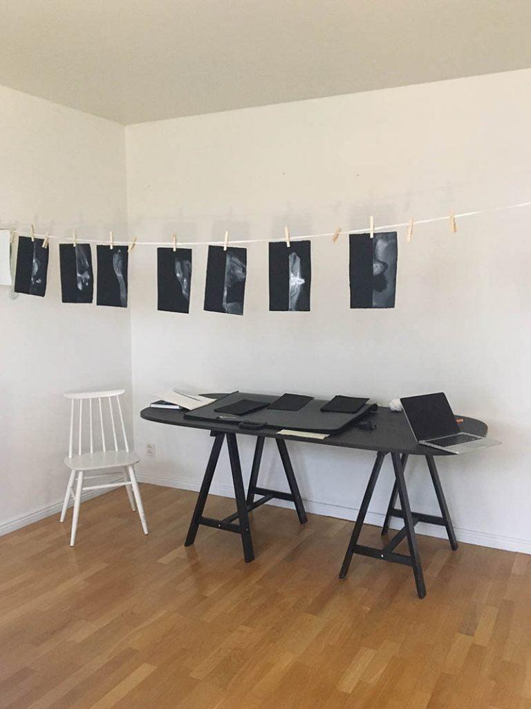 Ink-paintings-in-Gill-Crabb-studio-at-AARK-Archipelago-Art-Residency-in-Korpo