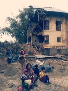 Damaged house after the earthquake in 2015, Manamaiju